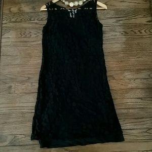 Lace and silk slip dress